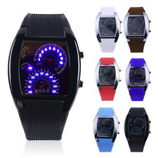 Mens Sports RPM Turbo Blue Flash LED Sports Car Meter Dial Watch Wristwatch HS