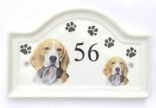 House Door Ceramic Dog Number Plaque plate Pawprints Sign Outdoor Any Breed(R-Z