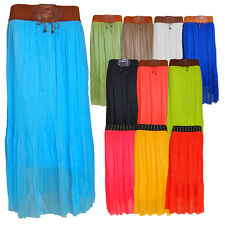 Ladies Chiffon Lined Pleated Maxi Gypsy Skirt with Elasticated Fashion Waistband
