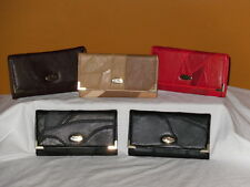 A Patchwork Leather Wallet Change Organiser Purse With 3 Internal Zips Flapover.