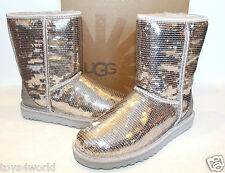 UGG Australia Classic Short Sparkles Silver Sequins Boots Womens  - Size 6