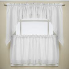 NEW Ribbon Floral Eyelet Kitchen Curtains - White or Ecru
