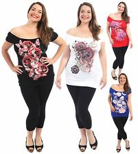 New Ladies Butterfly Sequins Floral Print Off Shoulder T Shirt Tunic Tops 8-22