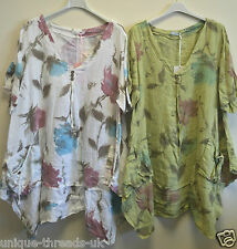 Ladies ITALIAN Regular PLUS Size FLORAL Quirky LAGENLOOK LINEN V-Neck TUNIC Top