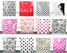 100 x Printed Strong Carrier bag Plastic Gift shopping Bags - 25cm x 30cm x 8cm