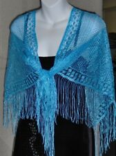 "TRIANGLE WEDGWOOD BLUE LACE SHAWL,SARONG,SCARF- 37"" X 72""With Fringe--#6"
