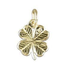 Childrens's 9ct Gold Four Leaf Clover Pendant Necklace Kids Jewellery