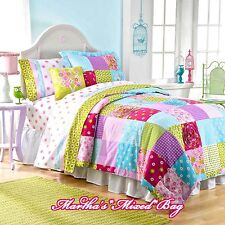 Girls PiNk PATCHWORK COUNTRY SHABBY COTTAGE CHIC FULL Size Comforter Set+PILLOWS
