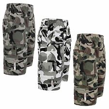 BOYS MULTIPOCKET ARMY SHORTS KIDS CAMOUFLAGE CARGO COMBAT BOTTOMS SIZES 3-14 YRS