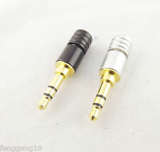 1x Copper Gold Plated 3.5mm Stereo 3 Pole Male Plug Soldering Connector Adapter