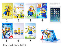 NEW Despicable Minion PU Leather Flip Stand Cover Case for Apple ipad Mini 1 2 3