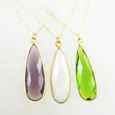"Birthstone Necklace, 22k Gold Plated S.S Elongated Tear Bezel Gemstone(16-24"")"