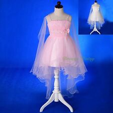 Diamante Lace Tulle Wedding Flower Girl Sweet Party Birthday Dress Size 3-8 #339