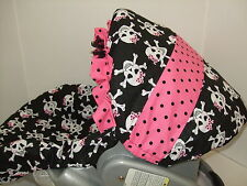 SUGAR SKULLS/RUFFLE INFANT CAR SEAT COVER/Graco,Evenflo,BabyTrend,Most Brands