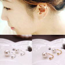 2PCS Womens Elegant Pearl Ear Wrap Cartilage Cuff U Clip On Earring No Piercing
