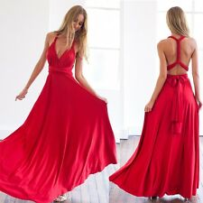 Multiwear Sexy High Waist Backless Pleated Prom Cocktail Long Gown Maxi Dress