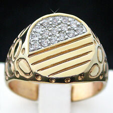 New 14K Yellow Gold ep Simulated DIAMOND Signet Ring | Mens Bling Jewellery