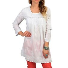 KC Signatures Women's White Casual Floral Cotton Tunic Top Coverup 3/4 Sleeves