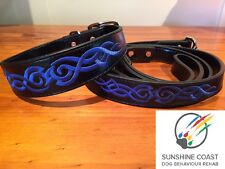 BLACK DOG COLLAR OR LEAD OR SET WITH BLUE EMBROIDERY SMALL MEDIUM LARGE XL