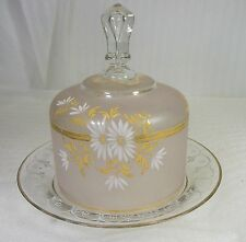 Bohemian Moser Glassware Cheese Butter Dome Covered Dish with Flowers and Gold