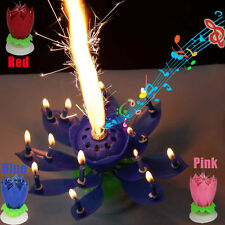 Multicolor Rotatable Beautiful Musical Blossom Lotus Flower Birthday Candle HOT