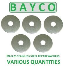 M6 X 25MM  STAINLESS STEEL REPAIR WASHER A2 GRADE 304, PENNY MUDGUARD WASHER