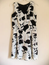 Women's Next Tailored Black/Ivory Floral Print Dress, Size 8, 10 & 12, BNWT