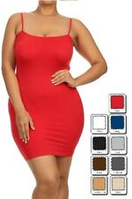 Plus Size Stretch Layering Long Cami Camisole Tank Top Seamless Mini Dress Slip