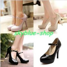 Ladies Ankle Strap Platform High Heels Mary Janes Pumps Office Court Shoes Size