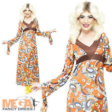 1960s Woodstock Maxi Dress Ladies Fancy Dress 60s Hippie Womens Costume Outfit