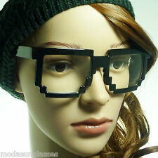 8-BIT Geek Nerd Pixel Party Unisex Square Frame Clear Lens Eye Glasses 2 Styles