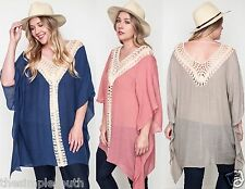 New UMGEE Chunky Crochet Knit Light Gauze Boho Sheer Poncho Tunic Top Plus Size