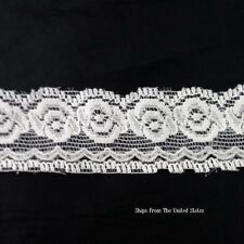"3 Yards Off White Rose Stretch Lace Scallop Trim 1 1/4"" SHIPS FROM USA S2-1"