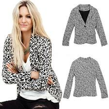 NEW Women's Leopard Button Collar Business Blazer Suit Jacket Thin Coat Out 0A3W