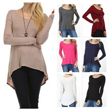 Women's Casual Scoop Neck Long Sleeve Hi-Low Hem Tunic Top Solid Knit T-Shirt