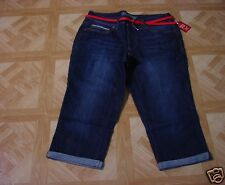 Faded Glory Women's Blue Jean Red & Tan Belted Cuffed Capri Pants  6, 12, 14