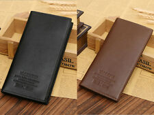 New Mens Long Casual Leather Black Wallet Pockets Card Clutch Cente Bifold Purse