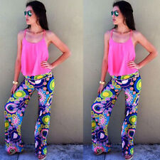 Lady Tribal Floral Casual High Waist Wide Leg Long Pants Palazzo Trousers AK