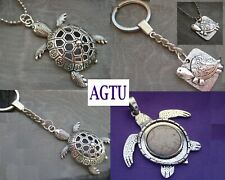 YOU PICK TURTLE Silver Large Tortoise Charm Pendant Keychain Necklace Gift