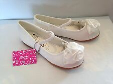 TODDLER GIRLS WHITE SATIN FLOWER GIRL BRIDESMAID WEDDING PARTY SHOES PUMPS 4-12
