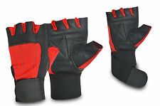 New Fingerless Leather Wheelchair Gloves Gym Body Building Fitness