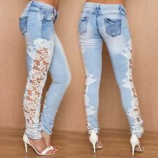 Sexy Women Denim Light Blue Skinny Jeans Crochet Lace Party Jeans Pants Trousers