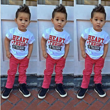 2PCS NEW Baby Boys Alphabet casual short + red trousers 2-8T
