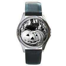 HALLOWEEN BLACK CAT ON PUMPKIN SILVER-TONE WATCH 6 OTHER STYLES