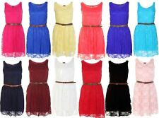 LADIES BELTED LACE SHIFT WOMENS SKATER SLEEVELESS DRESS TOP SIZE 8-14 LOT
