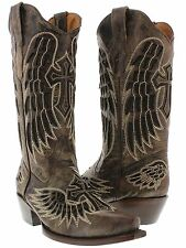 womens brown black western leather cowboy boots cowgirl rodeo cross wings rodeo