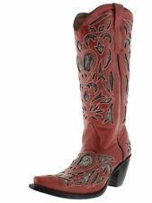 Womens Red Python Snake Heart Western Tall Leather Cowboy Boots Cowgirl New