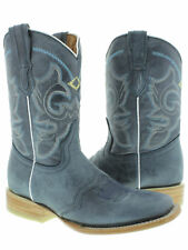 Womens Blue Mid Calf Leather Western Cowboy Boots Ankle Short Square Rodeo New