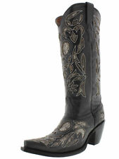 Womens Black Python Snake Heart Western Tall Leather Cowboy Boots Rodeo Cowgirl