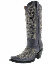 Womens Blue Python Snake Heart Western Tall Leather Cowboy Boots Rodeo Cowgirl